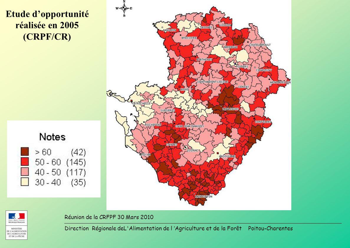 Direction Régionale deL Alimentation de l Agriculture et de la Forêt Poitou-Charentes Réunion de la CRFPF 30 Mars 2010 Etude dopportunité réalisée en 2005 (CRPF/CR)