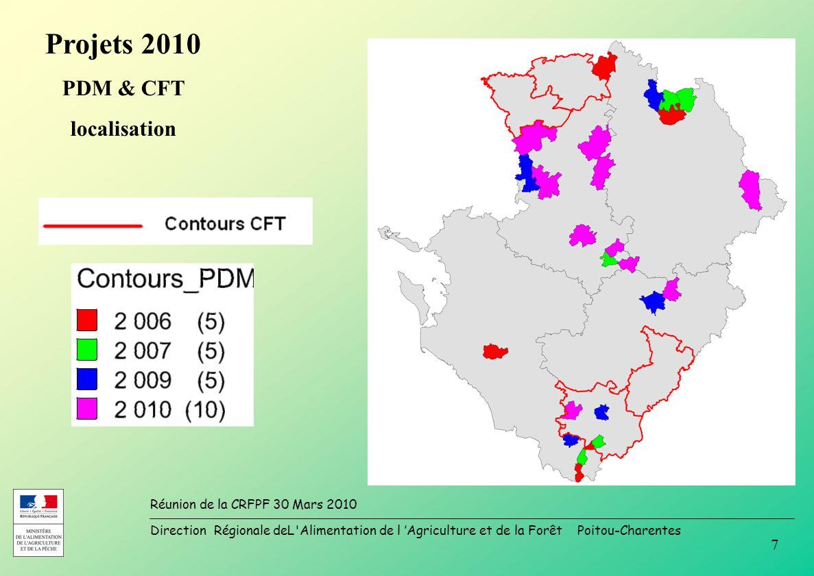 Direction Régionale deL Alimentation de l Agriculture et de la Forêt Poitou-Charentes Réunion de la CRFPF 30 Mars 2010 7 Projets 2010 PDM & CFT localisation