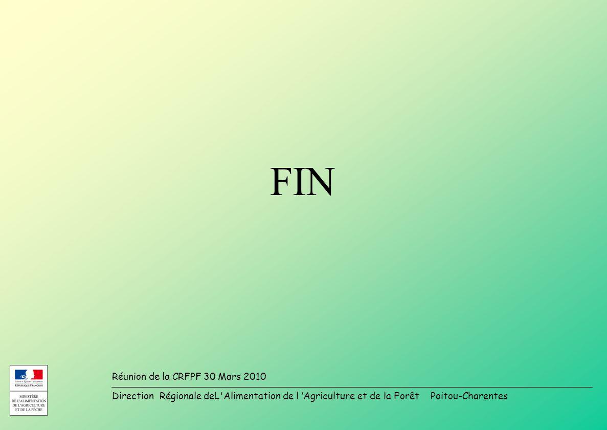 Direction Régionale deL Alimentation de l Agriculture et de la Forêt Poitou-Charentes Réunion de la CRFPF 30 Mars 2010 FIN