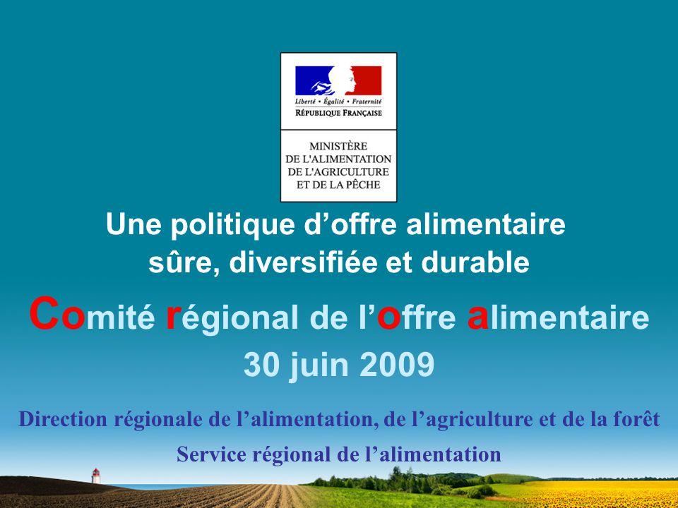 Une politique doffre alimentaire sûre, diversifiée et durable C o mité r égional de l o ffre a limentaire 30 juin 2009 Direction régionale de lalimentation, de lagriculture et de la forêt Service régional de lalimentation