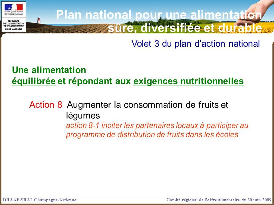 Volet 3 du plan daction national Une alimentation équilibrée et répondant aux exigences nutritionnelles Action 8 Augmenter la consommation de fruits e