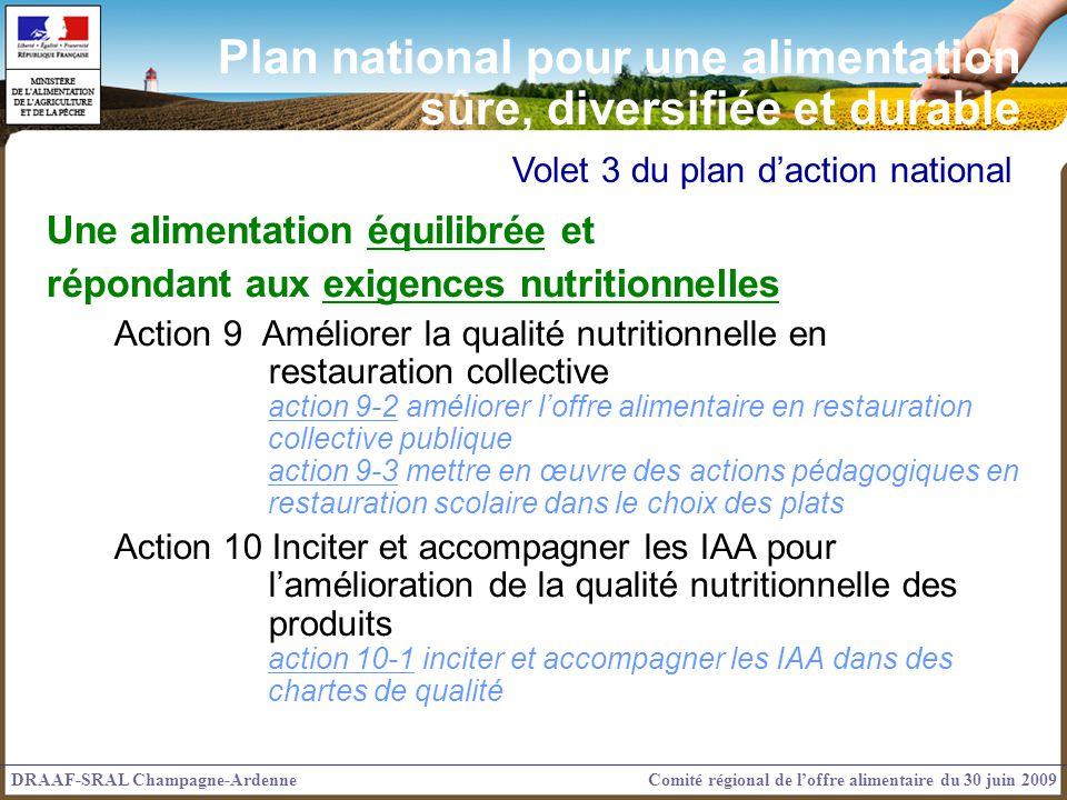 Volet 3 du plan daction national Une alimentation équilibrée et répondant aux exigences nutritionnelles Action 9 Améliorer la qualité nutritionnelle e
