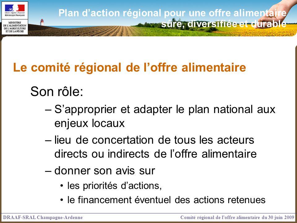 Plan daction régional pour une offre alimentaire sûre, diversifiée et durable Le comité régional de loffre alimentaire Son rôle: –Sapproprier et adapt