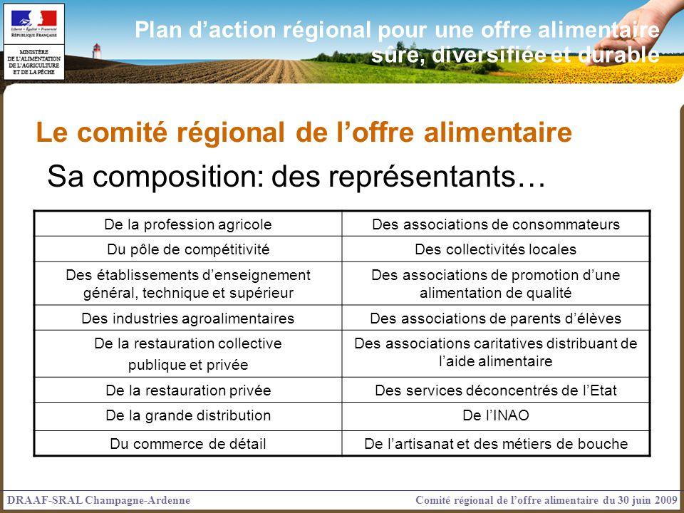 Le comité régional de loffre alimentaire Sa composition: des représentants… DRAAF-SRAL Champagne-ArdenneComité régional de loffre alimentaire du 30 ju