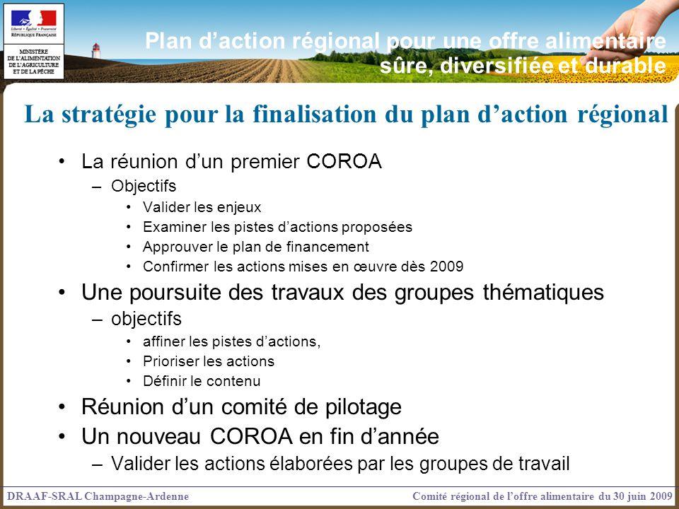 La réunion dun premier COROA –Objectifs Valider les enjeux Examiner les pistes dactions proposées Approuver le plan de financement Confirmer les actio