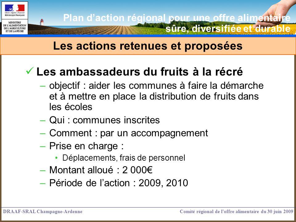 Les ambassadeurs du fruits à la récré –objectif : aider les communes à faire la démarche et à mettre en place la distribution de fruits dans les école