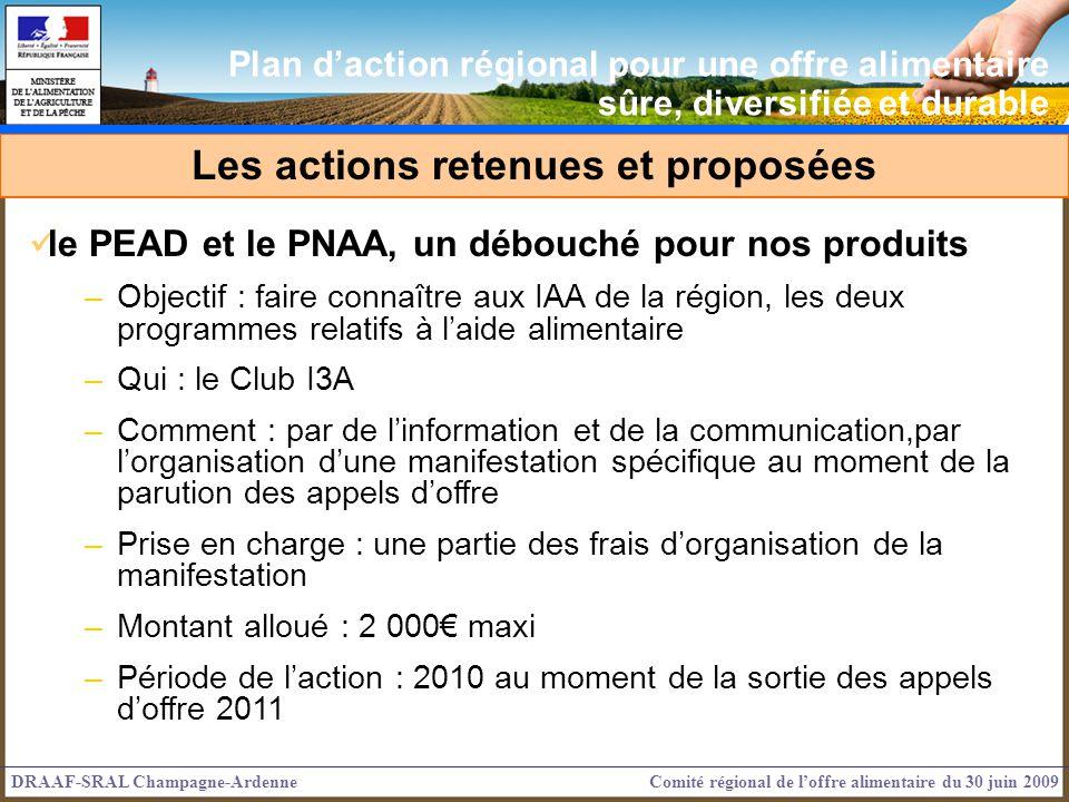 le PEAD et le PNAA, un débouché pour nos produits –Objectif : faire connaître aux IAA de la région, les deux programmes relatifs à laide alimentaire –