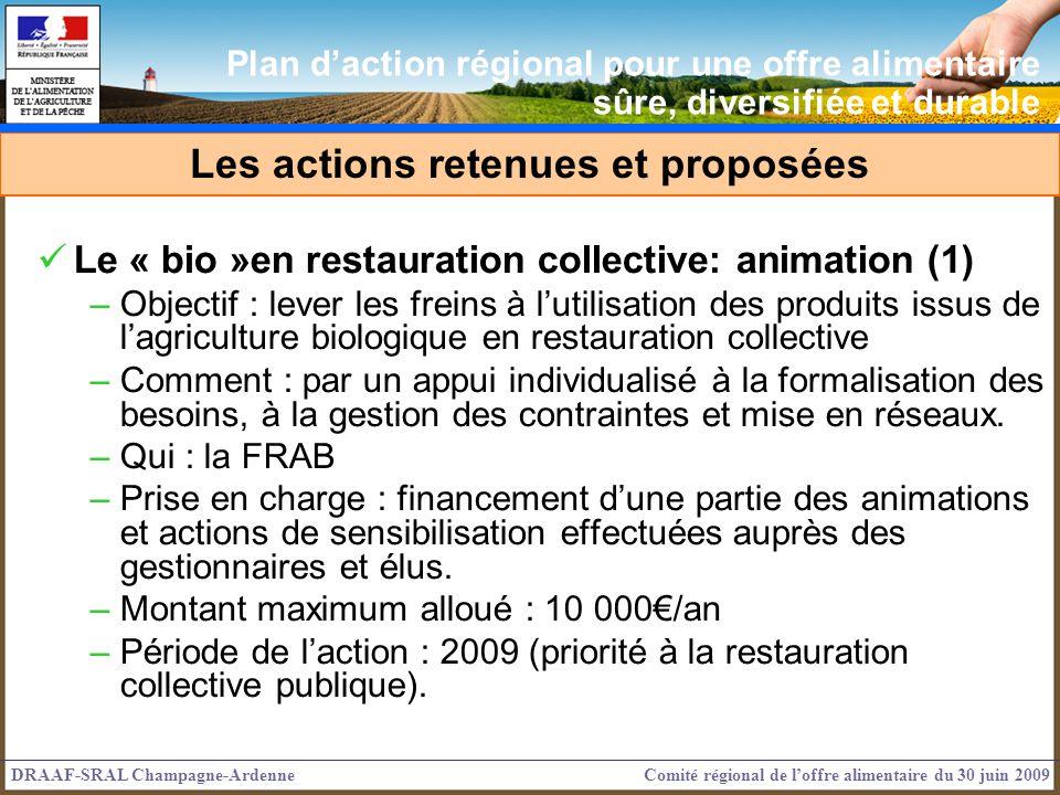 Le « bio »en restauration collective: animation (1) –Objectif : lever les freins à lutilisation des produits issus de lagriculture biologique en restauration collective –Comment : par un appui individualisé à la formalisation des besoins, à la gestion des contraintes et mise en réseaux.