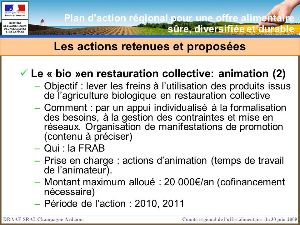 Le « bio »en restauration collective: animation (2) –Objectif : lever les freins à lutilisation des produits issus de lagriculture biologique en restauration collective –Comment : par un appui individualisé à la formalisation des besoins, à la gestion des contraintes et mise en réseaux.