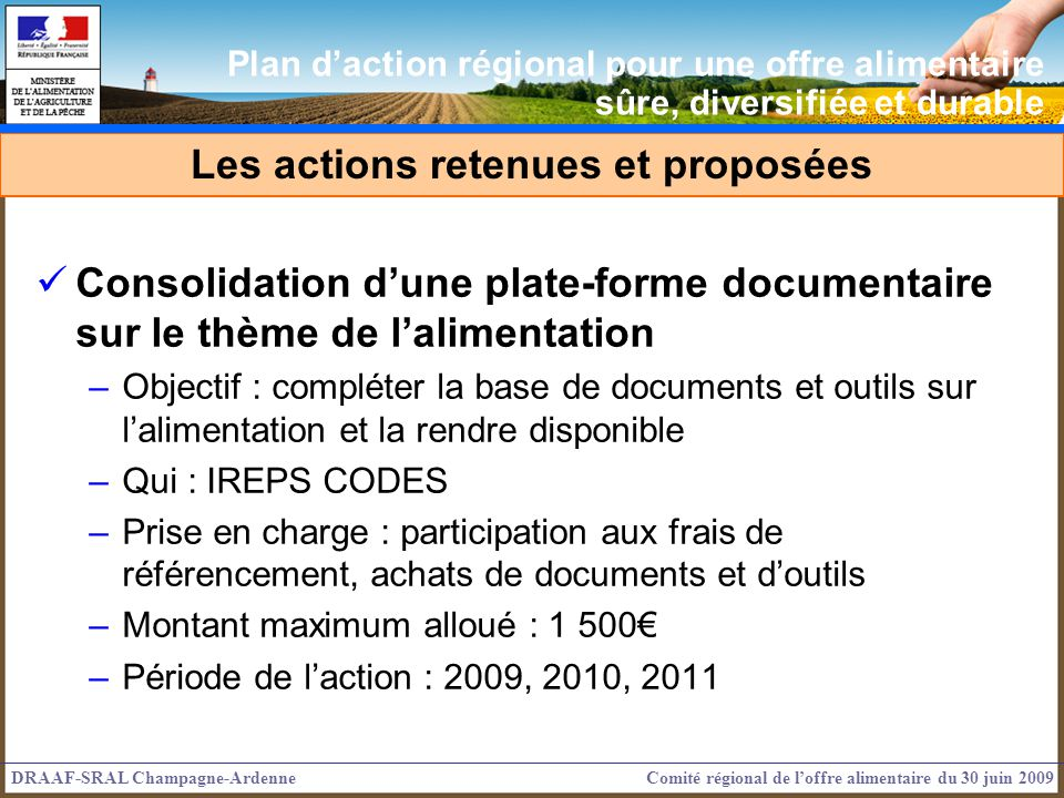 Consolidation dune plate-forme documentaire sur le thème de lalimentation –Objectif : compléter la base de documents et outils sur lalimentation et la