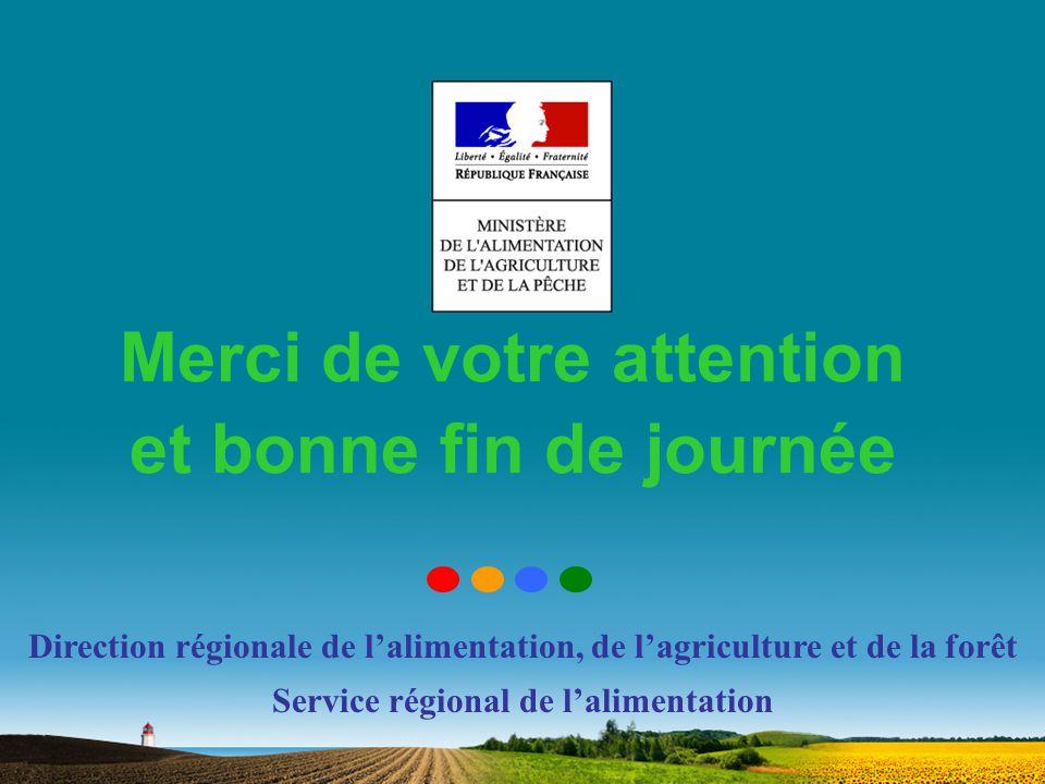 Merci de votre attention et bonne fin de journée Direction régionale de lalimentation, de lagriculture et de la forêt Service régional de lalimentatio