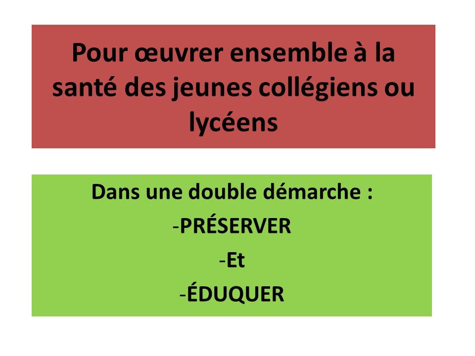 Pour œuvrer ensemble à la santé des jeunes collégiens ou lycéens Dans une double démarche : -PRÉSERVER -Et -ÉDUQUER