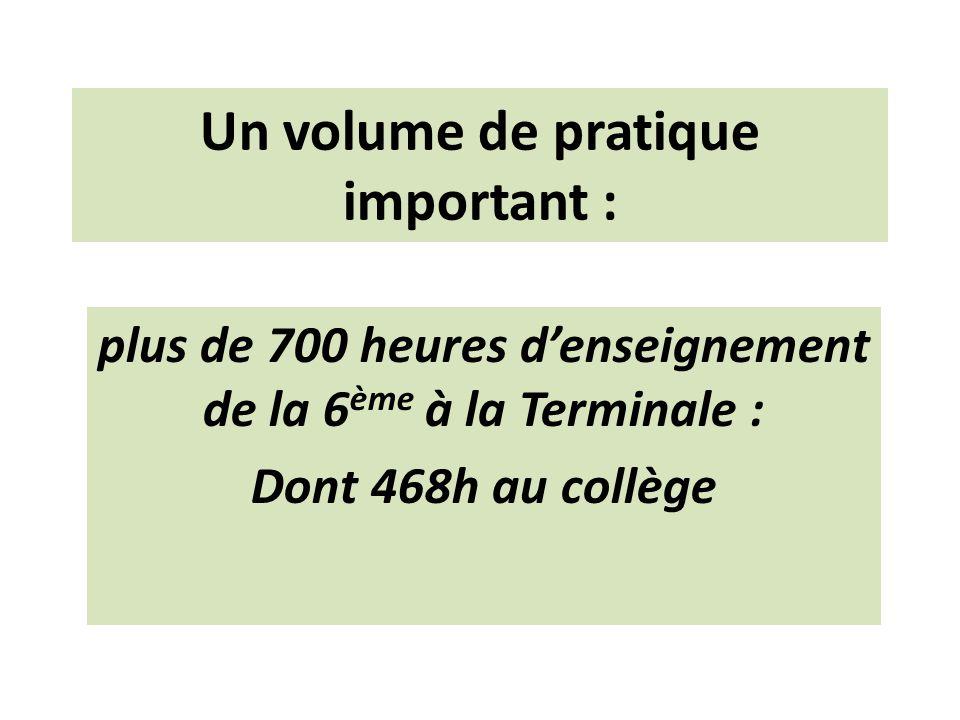 Un volume de pratique important : plus de 700 heures denseignement de la 6 ème à la Terminale : Dont 468h au collège