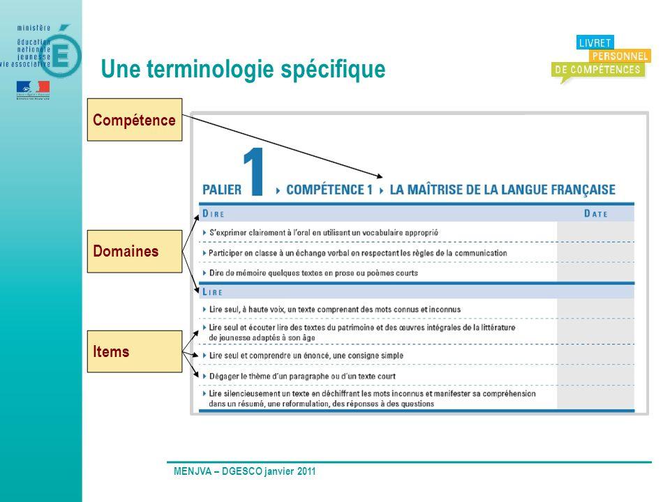Une terminologie spécifique MENJVA – DGESCO janvier 2011 Compétence Domaines Items