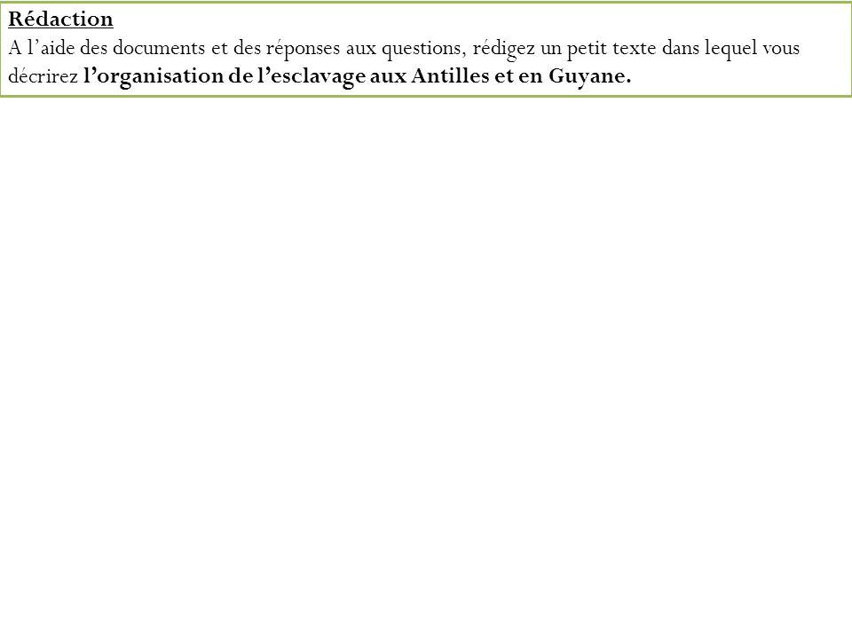 Rédaction A laide des documents et des réponses aux questions, rédigez un petit texte dans lequel vous décrirez lorganisation de lesclavage aux Antill