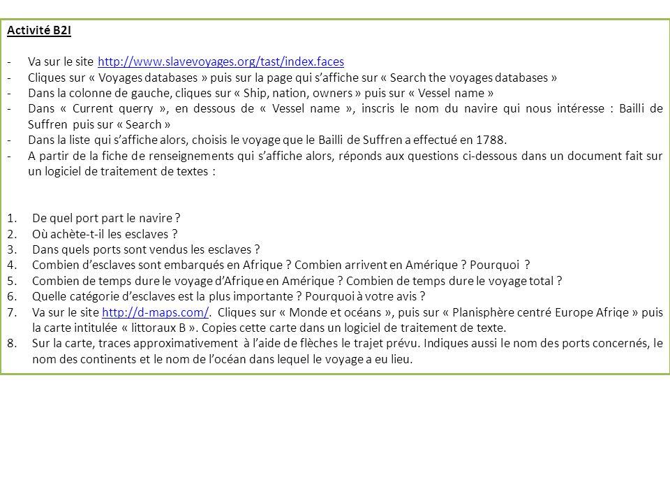 Activité B2I -Va sur le site http://www.slavevoyages.org/tast/index.faceshttp://www.slavevoyages.org/tast/index.faces -Cliques sur « Voyages databases