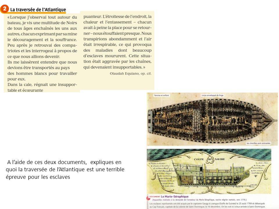 A laide de ces deux documents, expliques en quoi la traversée de lAtlantique est une terrible épreuve pour les esclaves