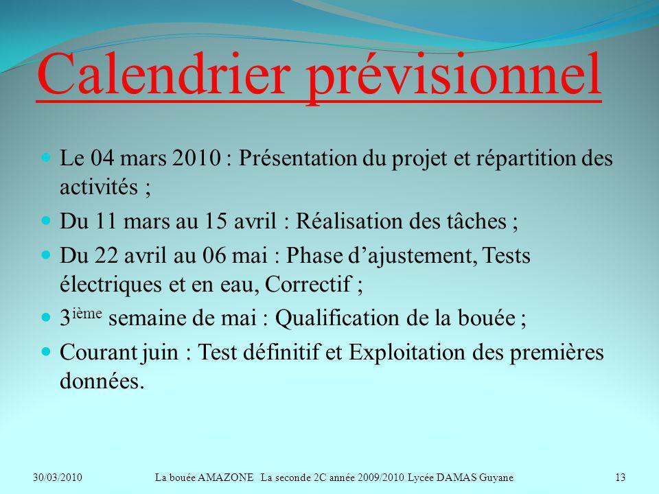 Calendrier prévisionnel Le 04 mars 2010 : Présentation du projet et répartition des activités ; Du 11 mars au 15 avril : Réalisation des tâches ; Du 2