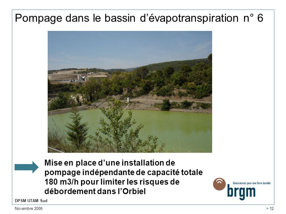 Novembre 2006 DPSM UTAM Sud > 12 Pompage dans le bassin dévapotranspiration n° 6 Mise en place dune installation de pompage indépendante de capacité t