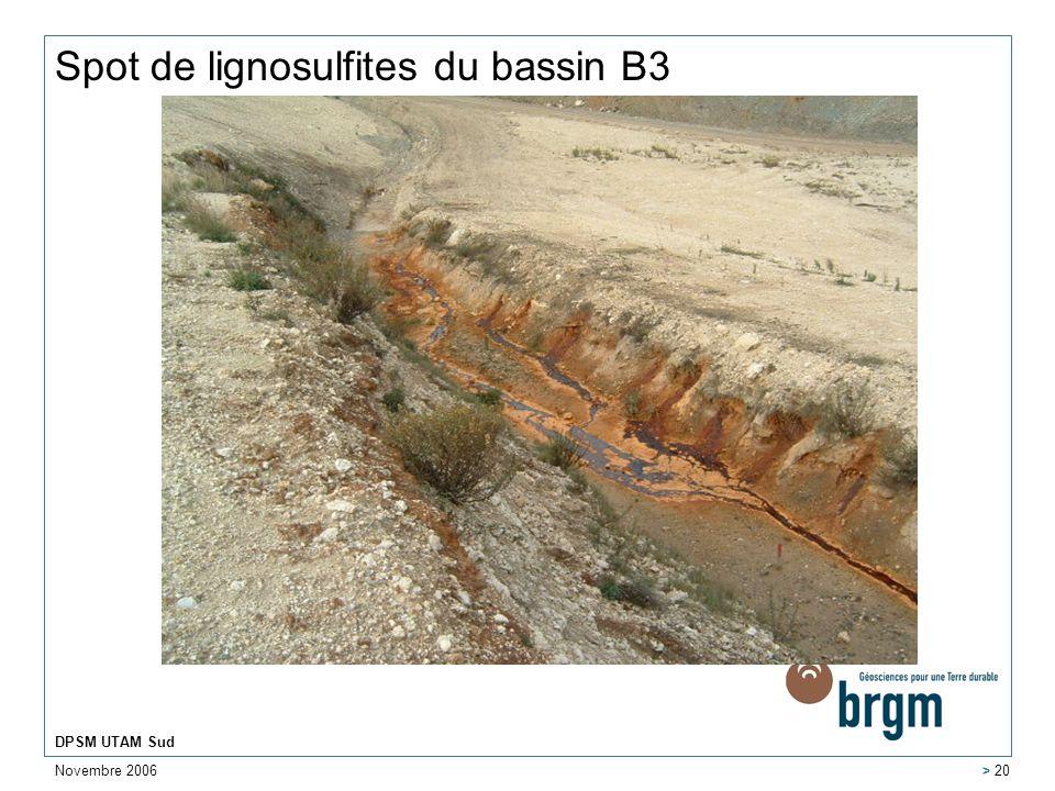 Novembre 2006 DPSM UTAM Sud > 20 Spot de lignosulfites du bassin B3