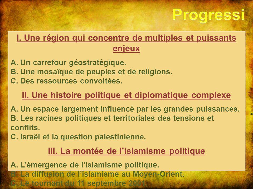 I. Une région qui concentre de multiples et puissants enjeux A. Un carrefour géostratégique. B. Une mosaïque de peuples et de religions. C. Des ressou