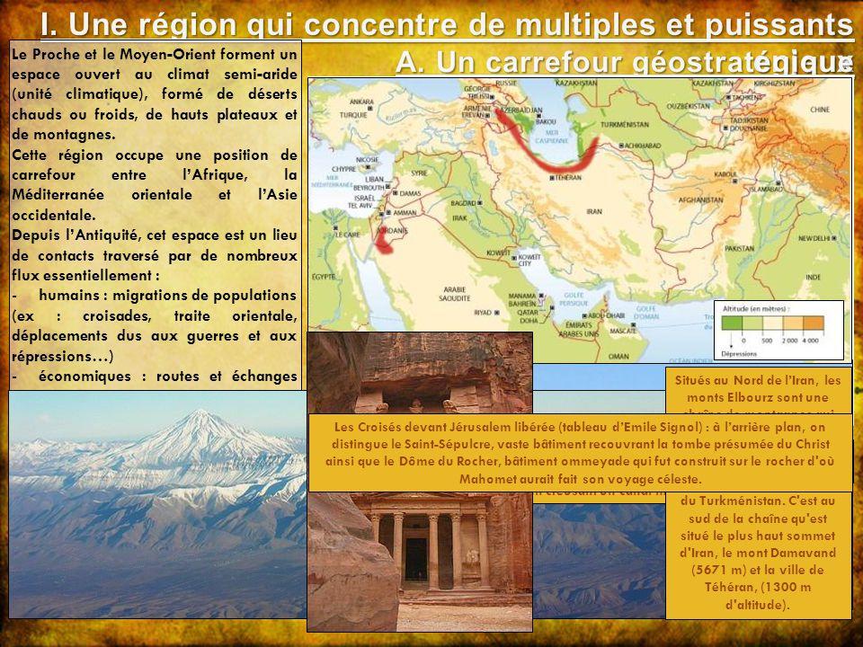 AFRIQUE EUROPE ASIE Le Proche et le Moyen-Orient forment un espace ouvert au climat semi-aride (unité climatique), formé de déserts chauds ou froids,
