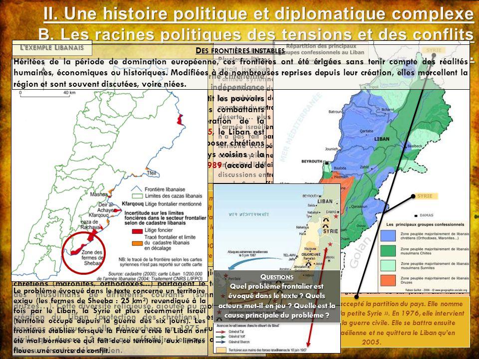 L ES LITIGES FRONTALIERS LIBANO - SYRIENS : L EXEMPLE DE S HEEBA Plusieurs litiges frontaliers entre Syrie et Liban sont apparus à la suite du retrait