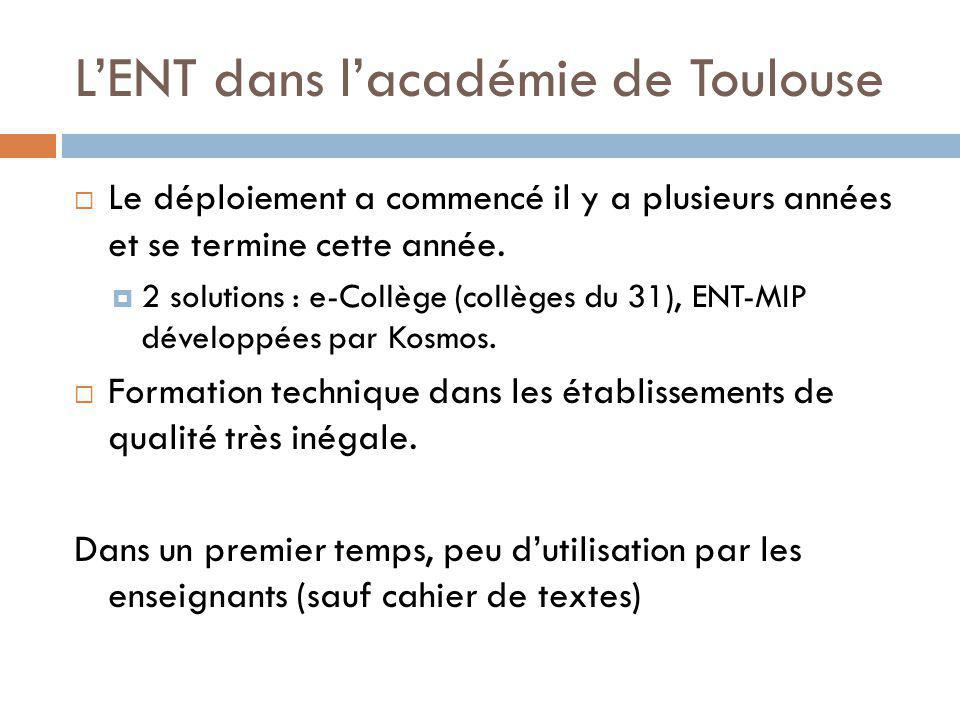 LENT dans lacadémie de Toulouse Le déploiement a commencé il y a plusieurs années et se termine cette année. 2 solutions : e-Collège (collèges du 31),
