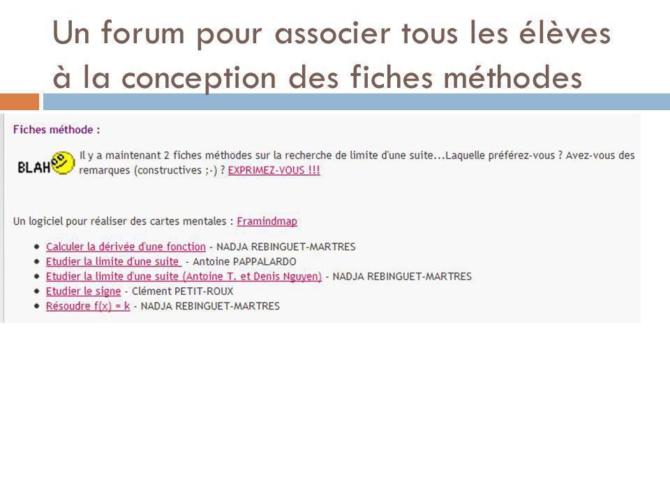 Un forum pour associer tous les élèves à la conception des fiches méthodes