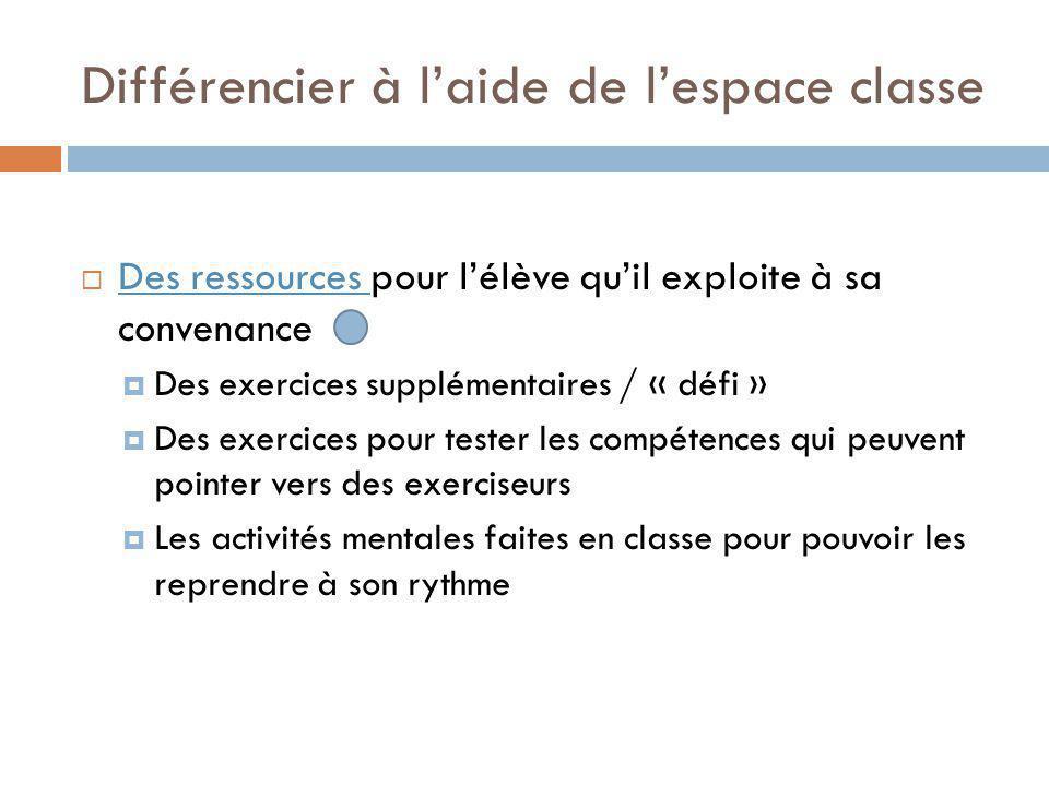 Différencier à laide de lespace classe Des ressources pour lélève quil exploite à sa convenance Des ressources Des exercices supplémentaires / « défi