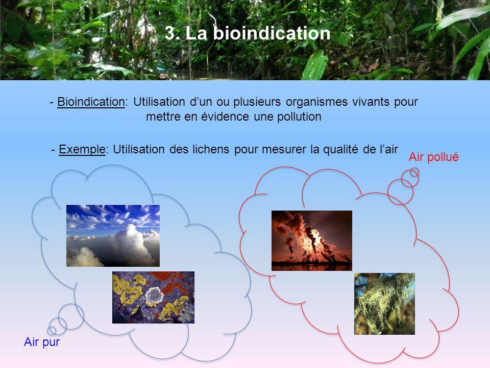 3. La bioindication - Bioindication: Utilisation dun ou plusieurs organismes vivants pour mettre en évidence une pollution - Exemple: Utilisation des
