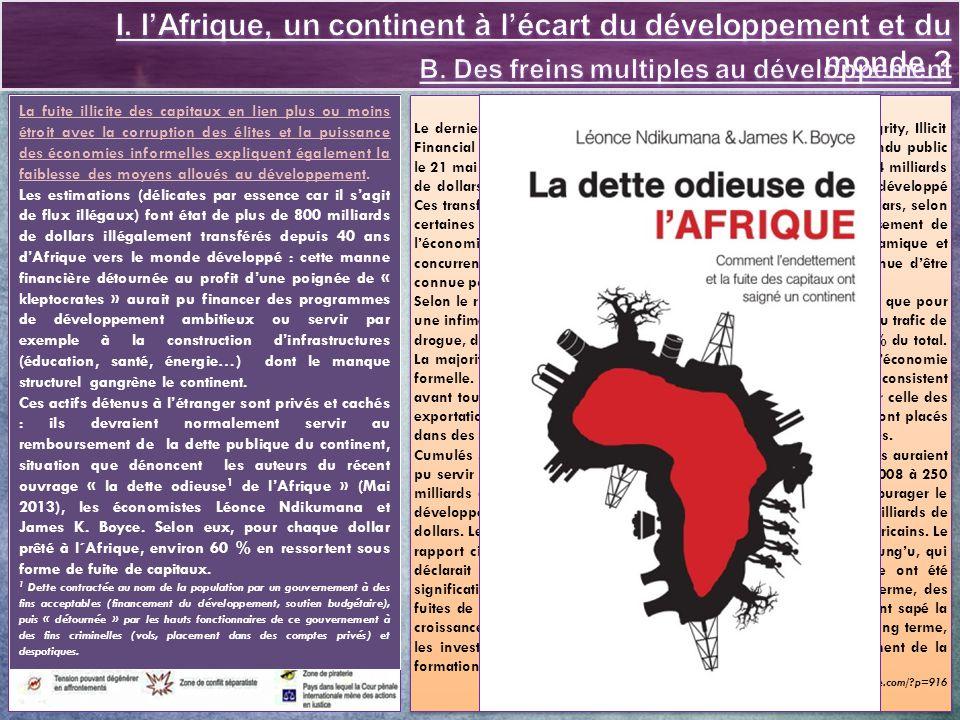 Fiche Eduscol http://cache.media.eduscol.education.fr/file/lycee/44/5/LyceeGT_Ressources_Geo_T_09_Th3_Q2_Afrique_213445.pdf Sites académiques http://pedagogie.ac-limoges.fr/hist_geo/spip.php?article311 http://ww2.ac-poitiers.fr/hist_geo/spip.php?article1194 http://lewebpedagogique.com/histoiregeotruffaut/2013/05/12/afrique-les-defis-du-developpement/ Hors série Revue - Courrier International « Afrique 3.0 » Mars-Avril 2013 Sur les difficultés et obstacles au développement http://gabonreview.com/blog/lafrique-ne-manque-pas-deau-mais-sa-population-manque-deau-potable/ http://unctad.org/fr/PublicationsLibrary/ldc2012overview_fr.pdf (Conférence des nations Unies sur le développement et le commerce : rapport 2012 sur les PMA) http://dakar.unic.org/2012/11/28/311/ (analyse des données) http://unesdoc.unesco.org/images/0016/001631/163170f.pdf (le défi de lalphabétisation 2003-2013) http://www.rfi.fr/afrique/20130515-afrique-sud-greve-minier-marikana-lonmin-nouveau-sous-tension http://terangaweb.com/pour-un-avenir-sans-bidonvilles-en-afrique/ http://news.abidjan.net/h/457763.html (Gouvernance économique - Le poids de la dette africaine) http://www.amalion.net/catalogue_en/item/la_dette_odieuse_de_lafrique/ http://www.carto-presse.com/?p=916#more-916 (Quand lAfrique finance les pays développés) Sur les perspectives dune intégration dans la mondialisation http://www.mondialisation.ca/la-reconquete-de-lafrique/5320965 http://www.challenges.fr/high-tech/20120914.CHA0838/l-afrique-championne-du-monde-du-paiement-par-telephone-mobile.html http://www.jeuneafrique.com/Article/ARTJAJA2583p069-072.xml0/ (les multinationales face au réveil des syndicats) http://www.lemonde.fr/idees/article/2013/01/01/l-afrique-nouvel-eldorado-des-investisseurs_1811423_3232.html http://www.slateafrique.com/89471/le-boom-economique-de-l-afrique-est-bien-une-realite http://www.afrique-asie.fr/component/content/article/14-economie45/2204-economie-lions-africains-contre-tigres-asiatiques.html http://www.la