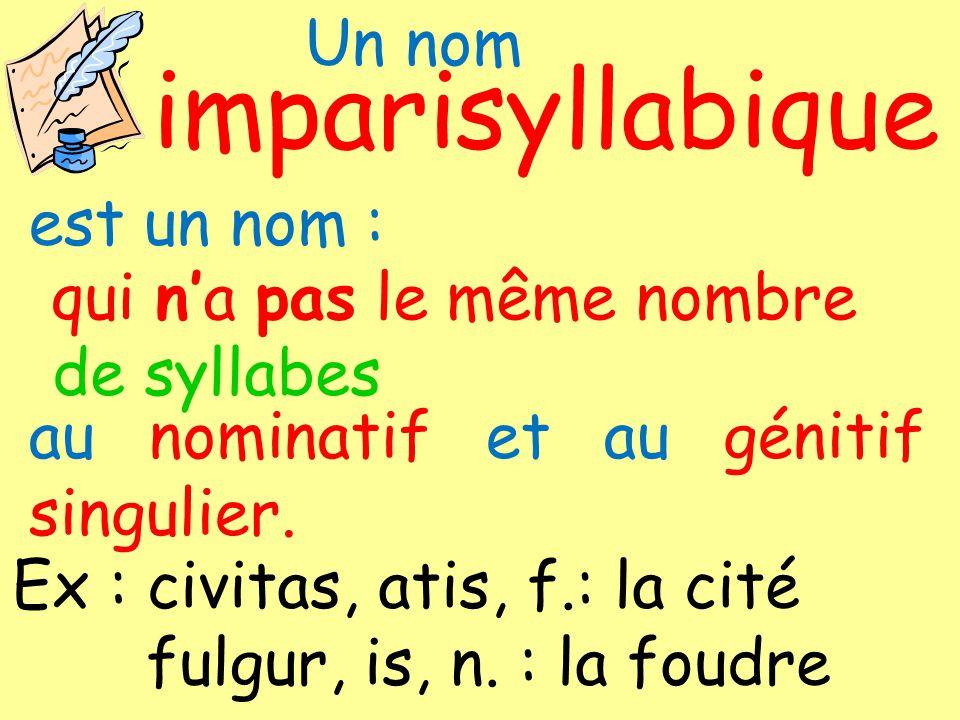 Un nom syllabique impari de syllabes est un nom : qui na pas le même nombre au nominatif et au génitif singulier. Ex : civitas, atis, f.: la cité fulg