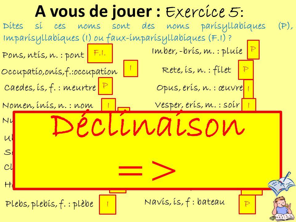 Dites si ces noms sont des noms parisyllabiques (P), Imparisyllabiques (I) ou faux-imparisyllabiques (F.I) ? A vous de jouer : Exercice 5: Pons, ntis,
