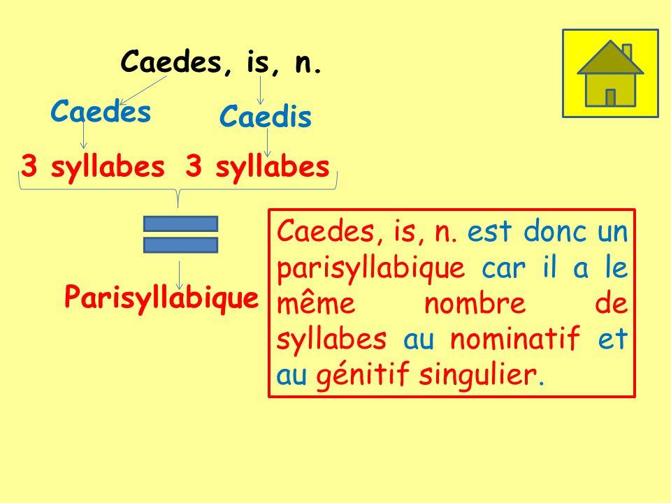 Caedes, is, n. Caedes 3 syllabes Caedis 3 syllabes Parisyllabique Caedes, is, n. est donc un parisyllabique car il a le même nombre de syllabes au nom