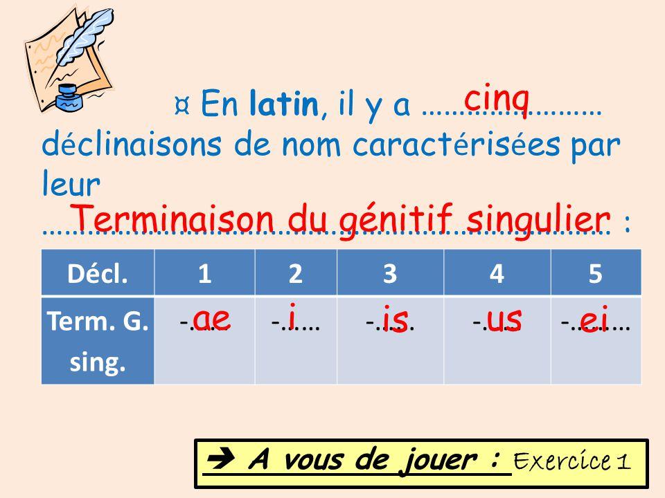 Décl.12345 Term. G. sing. -…… -……… ¤ En latin, il y a …………………… d é clinaisons de nom caract é ris é es par leur ………………………………………………………………… : cinq Termi