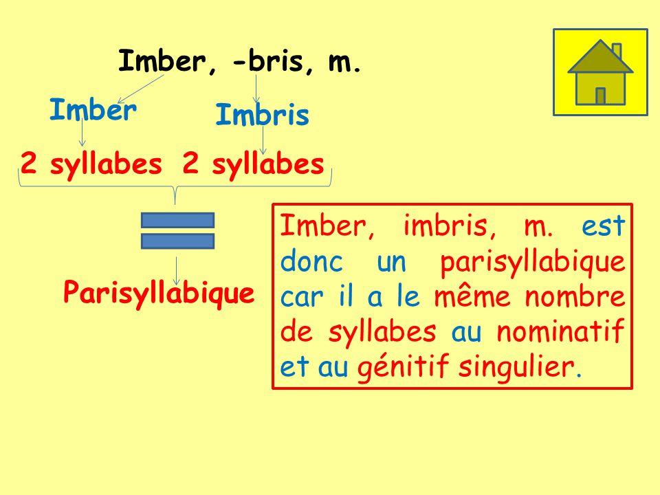 Imber, -bris, m. Imber 2 syllabes Imbris 2 syllabes Parisyllabique Imber, imbris, m. est donc un parisyllabique car il a le même nombre de syllabes au