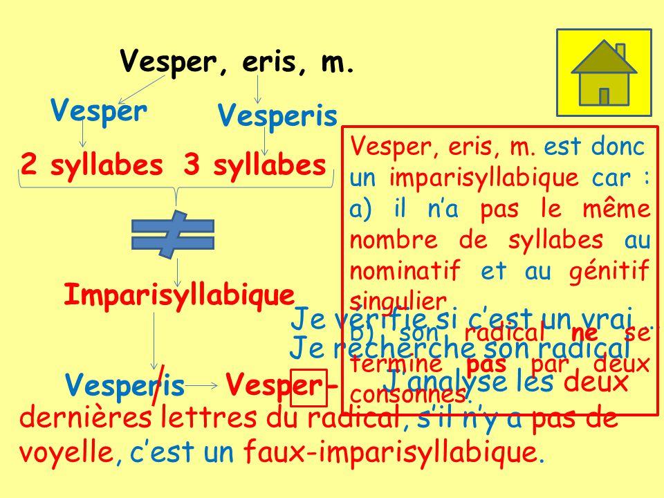 Vesper, eris, m. Vesper 2 syllabes Vesperis 3 syllabes Imparisyllabique Je vérifie si cest un vrai … Je recherche son radical Vesperis Vesper- Janalys