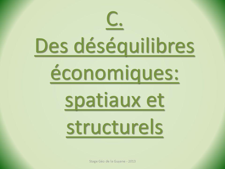 C. Des déséquilibres économiques: spatiaux et structurels Stage Géo de la Guyane - 2013