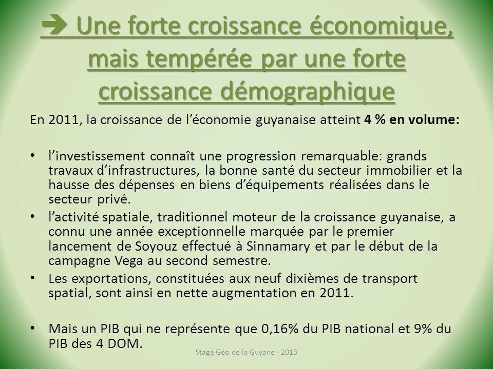 Une forte croissance économique, mais tempérée par une forte croissance démographique Une forte croissance économique, mais tempérée par une forte cro