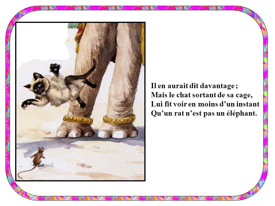 Il en aurait dit davantage ; Mais le chat sortant de sa cage, Lui fit voir en moins dun instant Quun rat nest pas un éléphant.