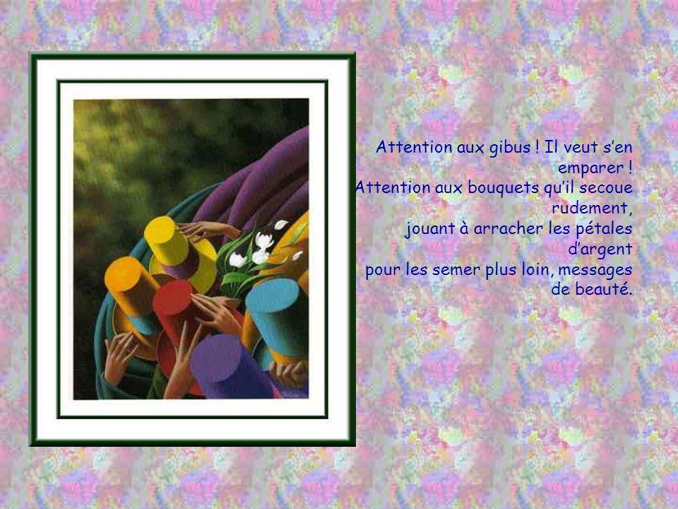 Les amoureux ravis, quun parapluie abrite, ne voient pas que le vent emporte leurs baisers, quil va les déposer sur des cœurs esseulés pour partager à