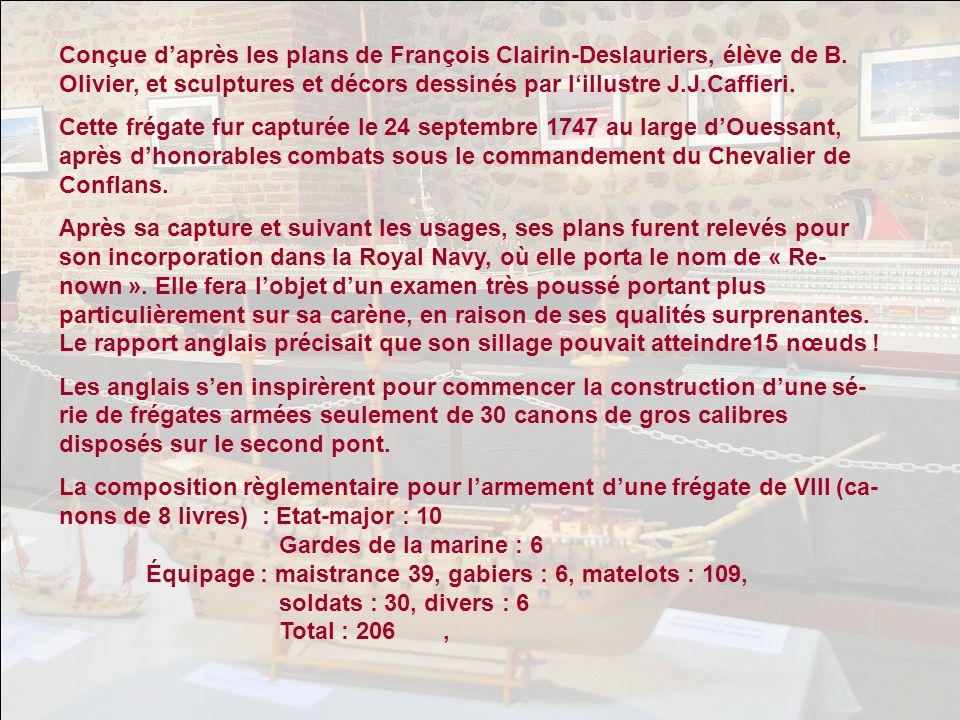 Le Royal Caroline de 1749 : ce yacht de la famille royale anglaise, cons- truit à Belfort, navigua à travers le monde de 1805 à 1820. Il était très pe