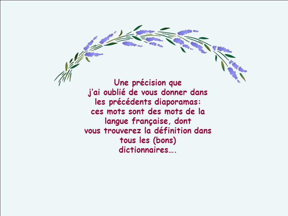 Une précision que jai oublié de vous donner dans les précédents diaporamas: ces mots sont des mots de la langue française, dont vous trouverez la définition dans tous les (bons) dictionnaires….