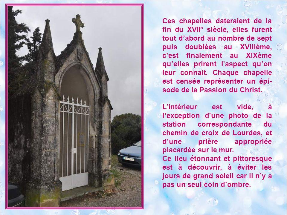 Surplombant la plaine de lHérault, tout près de lEglise Notre-Dame-de-Grâce dont il est le prolongement, le Chemin de Croix de Notre-Dame-de-Grâce est constitué de 14 chapelles le long dun petit chemin caillouteux.