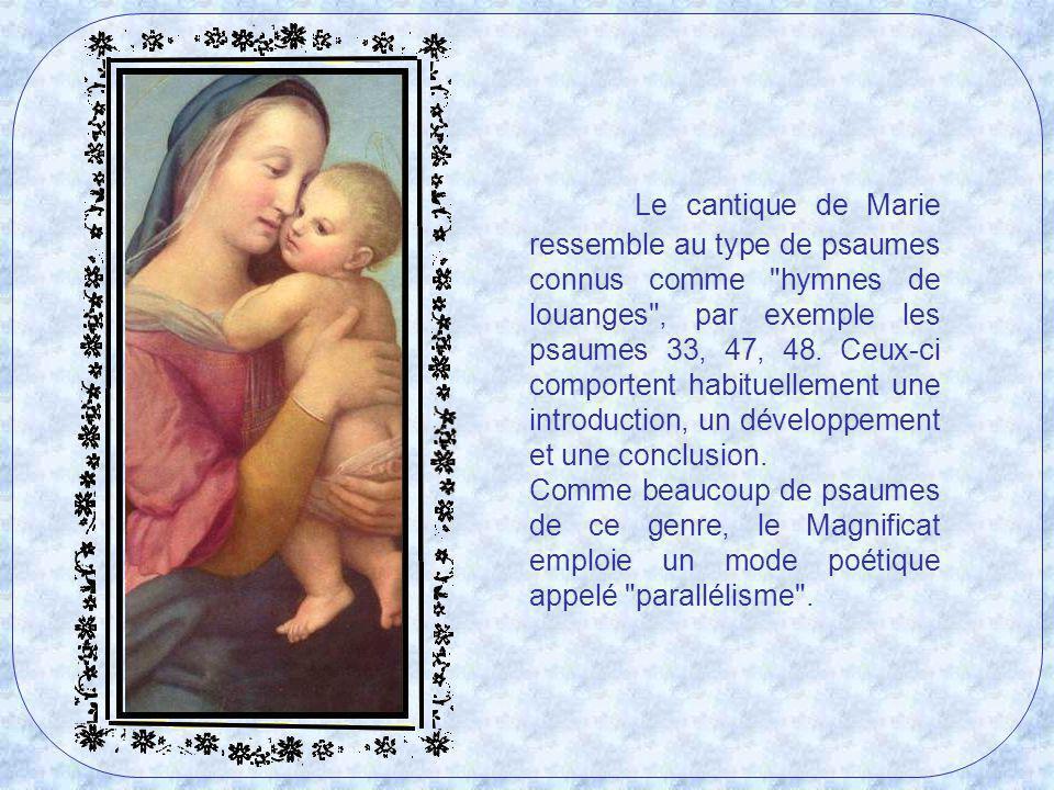 Le chant de Marie a de profondes racines dans lhymne dAnne (I Samuel 2) au moment où elle laisse son fils Samuel dans le temple, le consacrant au Seigneur Dieu.