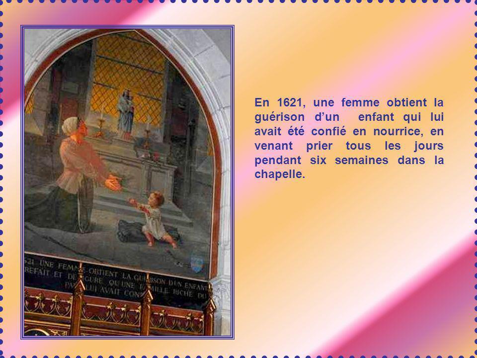 En 1595, une femme qui ramassait du bois a la vision (ou lapparition) de Notre-Dame du Chêne au- dessus du toit de la chapelle alors en ruines. La Vie