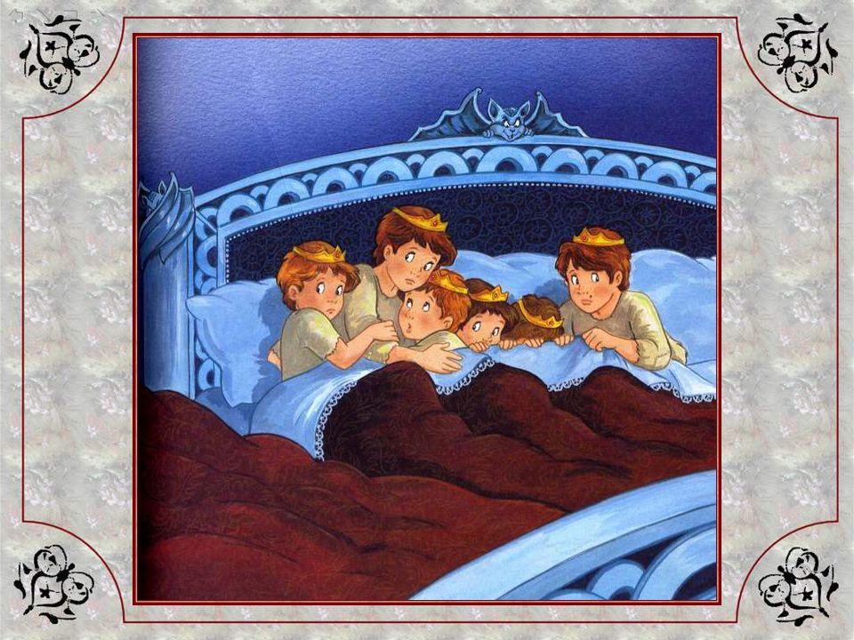 Les sept jeunes ogresses dorment si bien quelles ne se rendent compte de rien ! Poucet leur a retiré leurs couronnes et en a coiffé ses frères, et sen