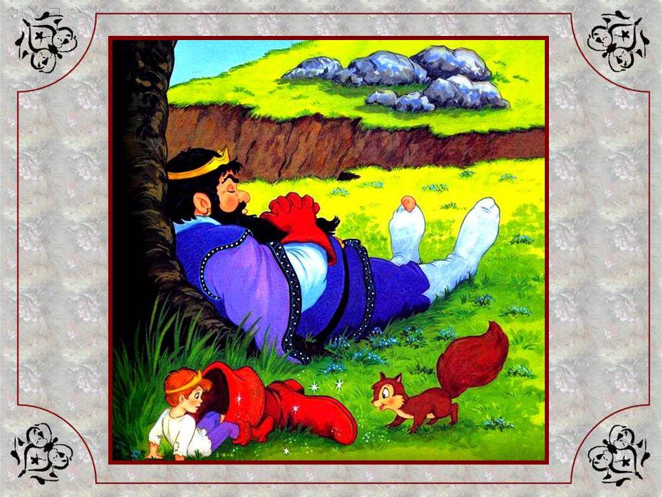 Sur le coup de midi, il est fatigué, il a chaud. Ses bottes,toutes magiques quelles sont, le font transpirer… Il les quitte et se repose un instant, s