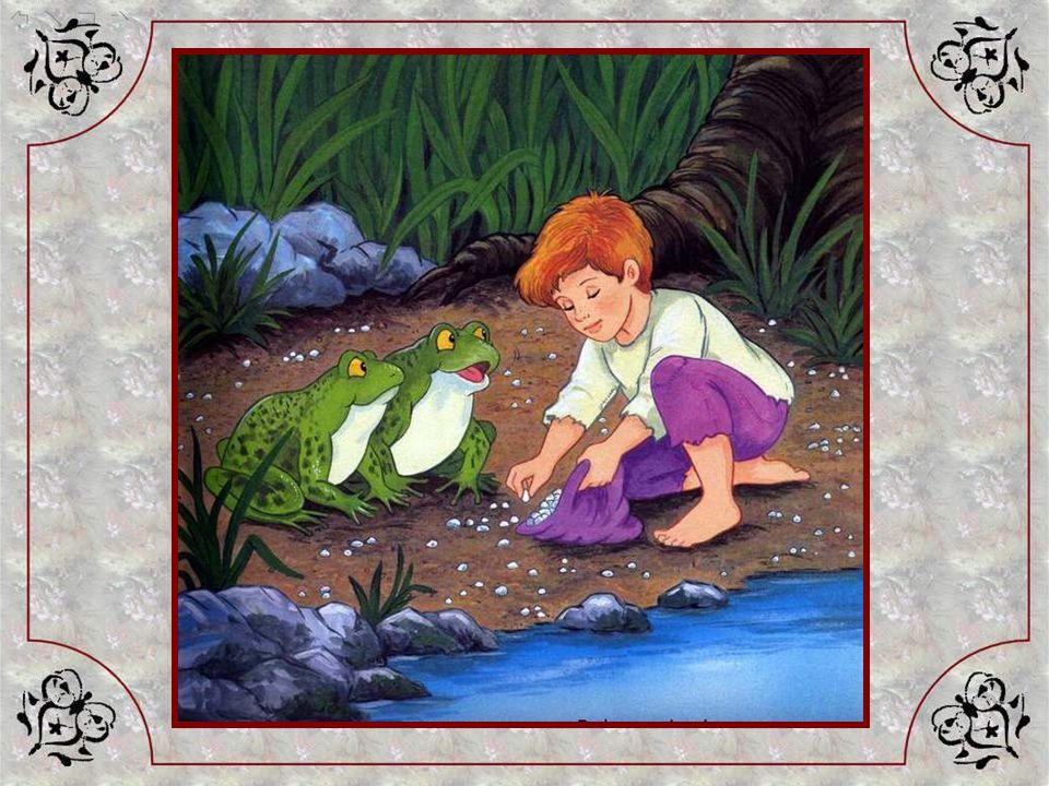Le Petit Poucet, que la faim empêchait de dormir, a tout entendu… Il sort silencieusement de la maison et va au bord de la rivière proche. Là il fait